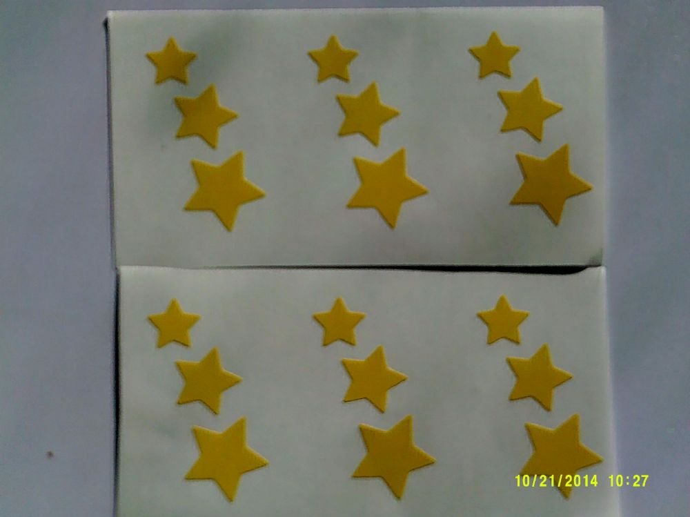 3 X Yellow Star Car Bumper Stickers 3 Different Sizes